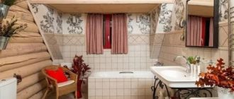 Интерьер ванной комнаты на даче
