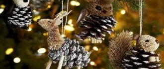 Новогодние игрушки из шишек к новому году